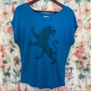 Express blouse XS very stretchy material blue